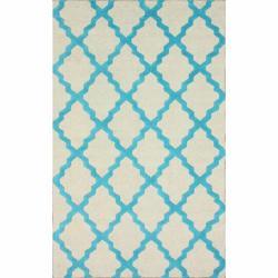 Hand-hooked Alexa Moroccan Trellis Turquoise Wool Rug (7'6 x 9'6)