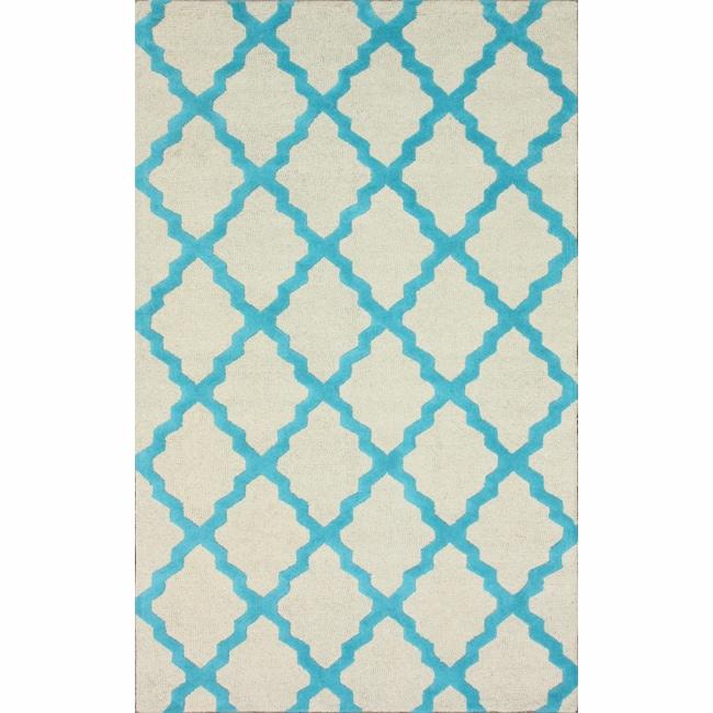 Hand-hooked Alexa Moroccan Trellis Turquoise Wool Rug (5' x 8')