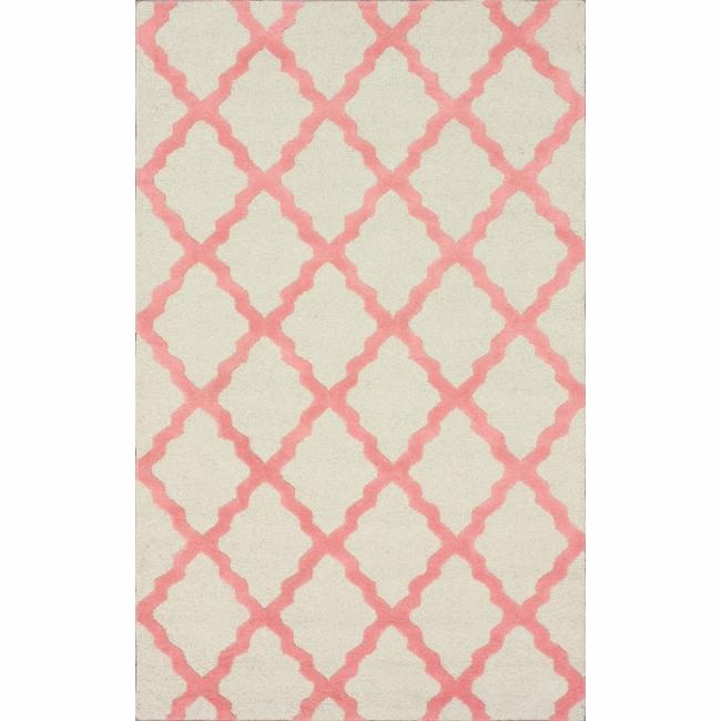 Nuloom Handmade Dotted Trellis Wool Kids Nursery Baby Pink: Shop Hand-hooked Alexa Moroccan Trellis Pink Wool Rug (7'6