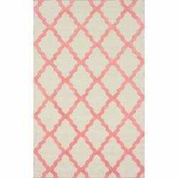 Hand-hooked Alexa Moroccan Trellis Pink Wool Rug (7'6 x 9'6)