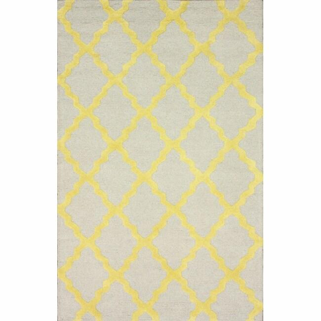 Hand-hooked Alexa Moroccan Trellis Yellow Wool Rug (7'6 x 9'6)