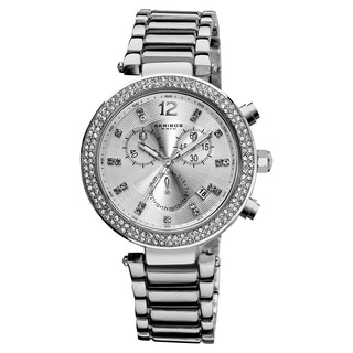 Akribos XXIV Women's Crystal Chronograph Silver-Tone Bracelet Watch