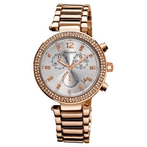 Rose-Tone Akribos XXIV Women's Crystal Chronograph Bracelet Watch