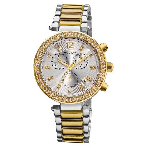GoldTone Akribos XXIV Women's Crystal Chronograph Bracelet Watch