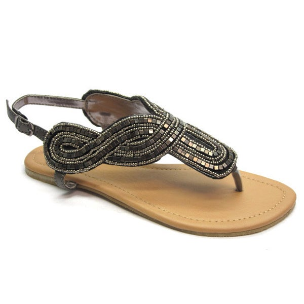 Blue Women's 'Diez' Grey Beaded Gladiator Sandals