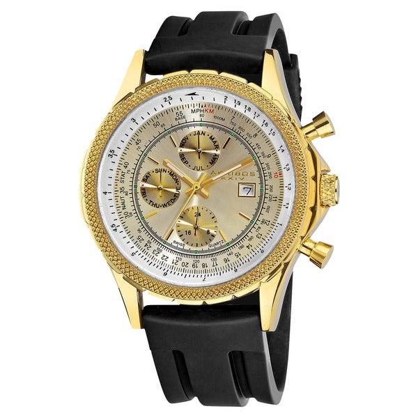 Akribos XXIV Men's Multifunctional Black Rubber Gold-Tone Strap Watch