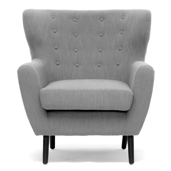Moretti Light Grey Linen Modern Club Chair Free Shipping