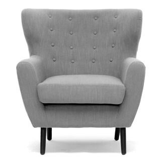 Moretti Light Grey Linen Modern Club Chair