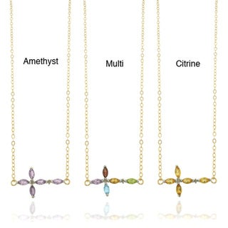 Dolce Giavonna 18k Gold-plated Sterling Silver Diamond and Gemstone Sideways Cross Necklace