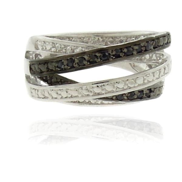 Dolce Giavonna Silverplated Sapphire Multi-band Ring