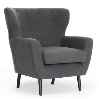 Braxton Studio Moretti Dark Grey Linen Modern Club Chair