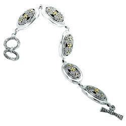Avanti Sterling Silver and 18k Gold Filigree Design Toggle Clasp Bracelet