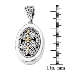 Avanti Sterling Silver and 18k Gold Oval Filigree Necklace - Thumbnail 2
