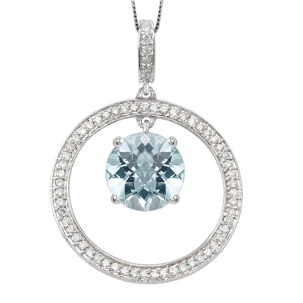 Avanti 14k White Gold Round Blue Topaz and 0.24ct TDW Diamond Necklace (G-H, I1-I2)