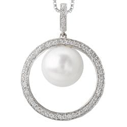 14k White Gold Freshwater Pearl and 0.24ct TDW Diamond Necklace (G-H, I1-I2)