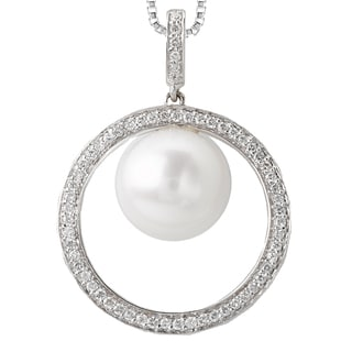 Avanti 14k White Gold Freshwater Pearl and 0.24ct TDW Diamond Necklace (G-H, I1-I2)