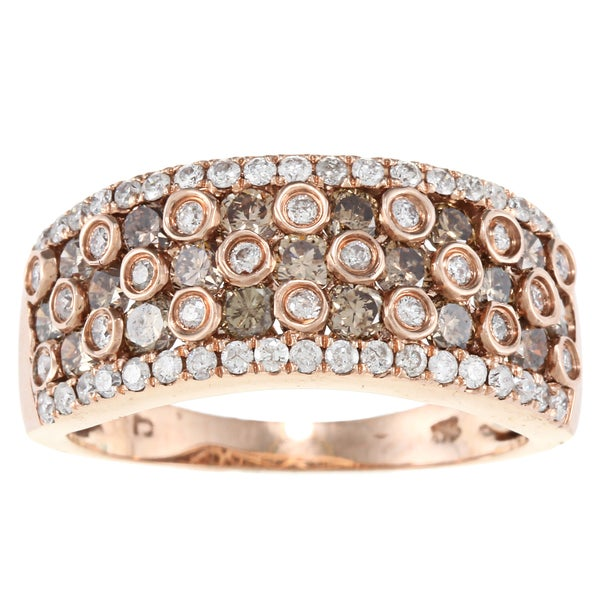 D'Yach 14k Rose Gold 1 1/2ct TDW Brown Diamond Ring