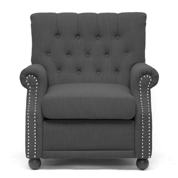 Baxton Studio Moretti Dark Grey Linen Modern Club Chair