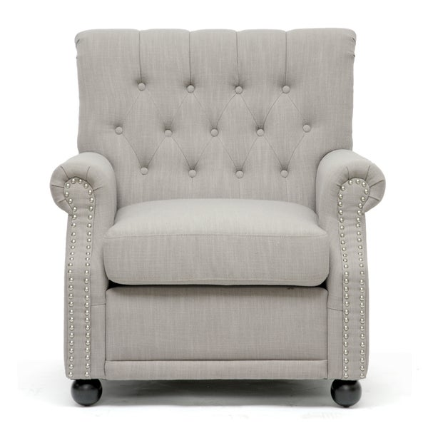 Baxton Studio Moretti Light Grey Linen Modern Club Chair