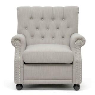 Baxton Studio Moretti Light Grey Linen Modern Club Chair