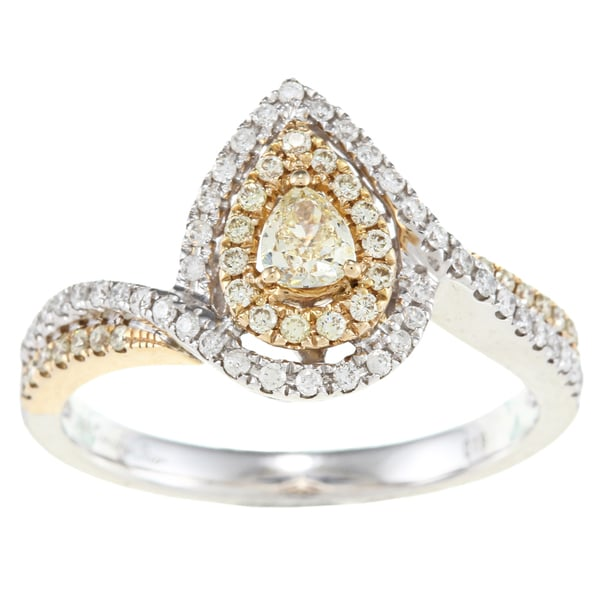 D'Yach 14k Two-tone Gold 1ct White and Yellow Diamond Marquise Ring