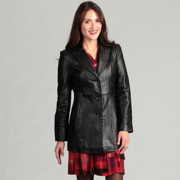 Jones New York Women's Black Leather Coat