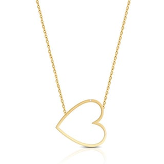 Finesque Sterling Silver Diamond Accent Sideways Heart Necklace with Red Bow Gift Box (2 options available)