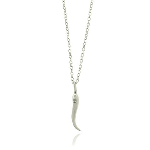Finesque Sterling Silver Diamond Italian Horn Pendant Necklace