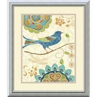 Framed Art Print 'Eastern Tales Birds I' by Daphne Brissonnet 17 x 20-inch