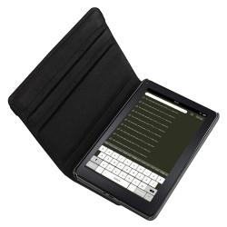 Black Leather Swivel Case/ USB Data Cable for Amazon Kindle Fire - Thumbnail 1