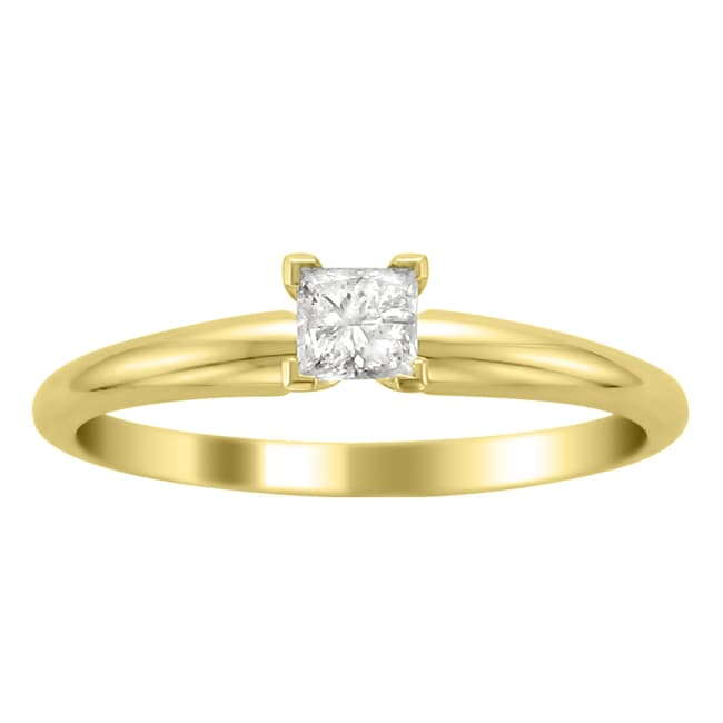 Montebello 14k Yellow Gold 1/4ct TDW Princess Cut Diamond Solitaire Ring (H-I, I1-I2)