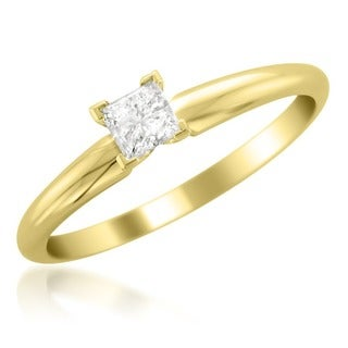 Montebello 14k Yellow Gold 1/4ct TDW Princess Cut Diamond Solitaire Ring