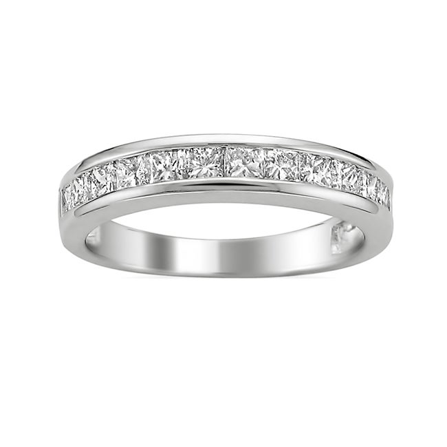 Montebello 14k White Gold 3/4ct TDW Princess Diamond Wedding Band (H-I, I1)