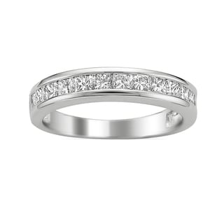 Montebello 14k White Gold 3/4ct TDW Princess Diamond Wedding Band