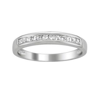 Montebello 14k White Gold 1/3ct TDW Princess-cut Diamond Wedding Band