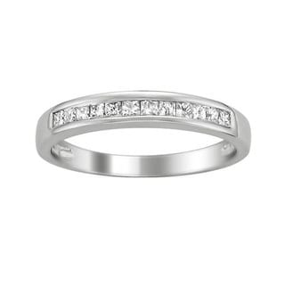 Montebello 14k White Gold 1/3ct TDW Princess-cut Diamond Wedding Band