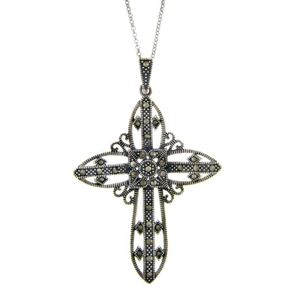 Dolce Giavonna Silverplated Marcasite Filigree Design Cross Pendant
