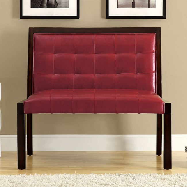 Burgundy Leather-Look Cappuccino Wood Bench