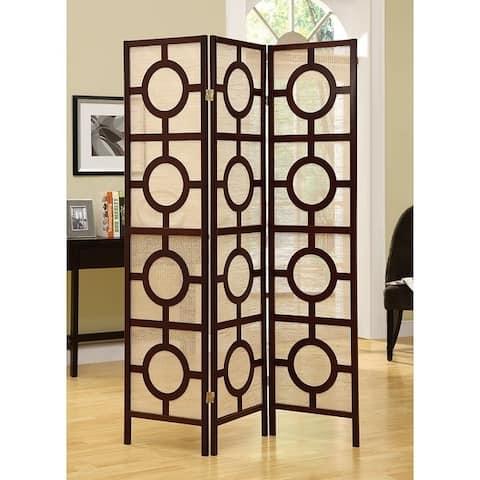 Cappuccino Frame 3 Panel 'Circle Design ' Folding Screen