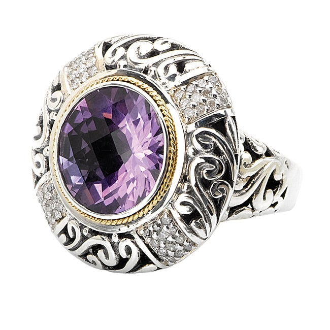 Avanti Sterling Silver and 18k Gold Amethyst and 1/4ct Diamond Ring (H-I, I2-I3)