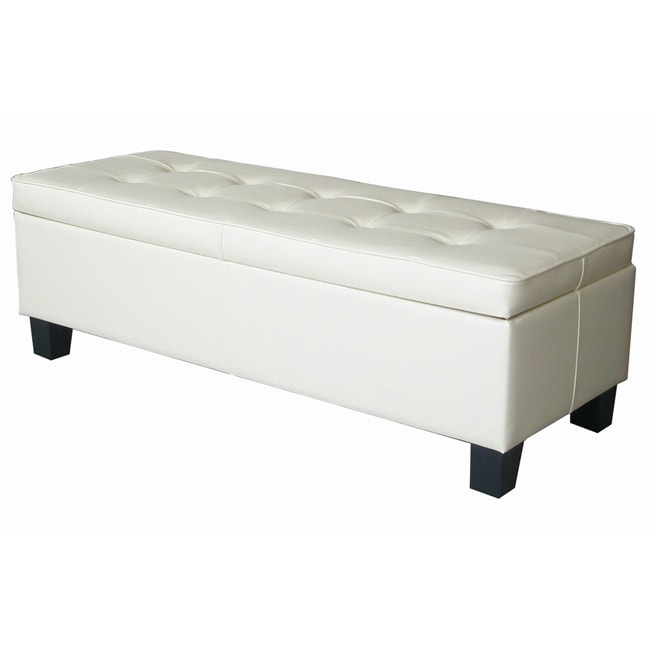 Off White Leather Tufted Storage Bench Ottoman Free Shipping Today 14364143