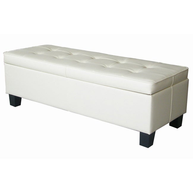 off white leather tufted storage bench ottoman free