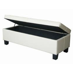 Off White Leather Tufted Storage Bench Ottoman - Thumbnail 1