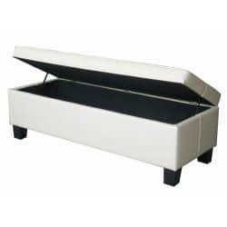 Fantastic Off White Leather Tufted Storage Bench Ottoman Overstock Com Shopping The Best Deals On Benches Inzonedesignstudio Interior Chair Design Inzonedesignstudiocom