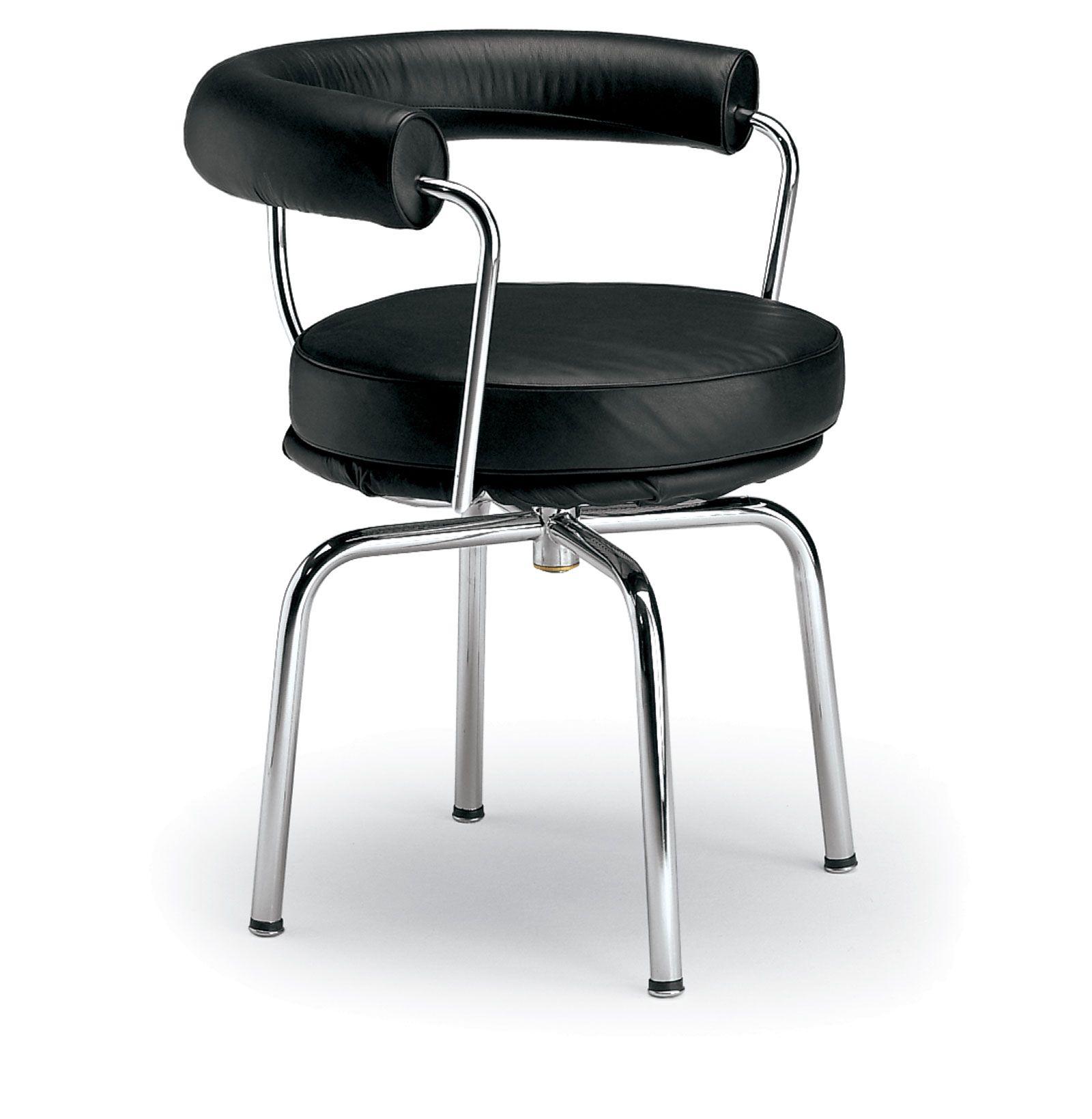LC7 Black Leather Swivel Armchair