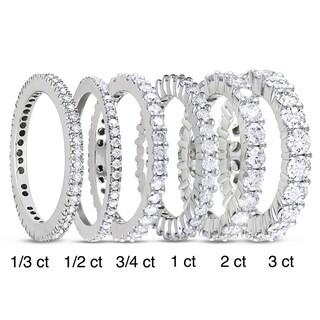 Miadora 14k White Gold TDW Diamond Eternity Ring