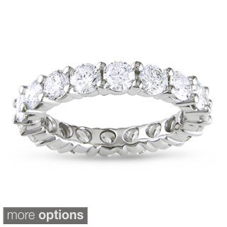 Miadora 14k White Gold TDW Diamond Eternity Ring