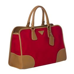 Prada Red Canvas/ Saffiano Leather Tote Bag