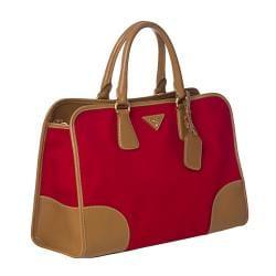Prada Red Canvas/ Saffiano Leather Tote Bag - Thumbnail 1