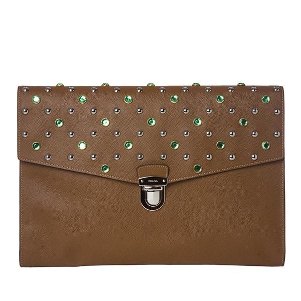 Prada Jeweled Leather Oversized Clutch